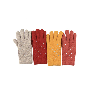 Gloves Ladies Acrylic with Wool Strass